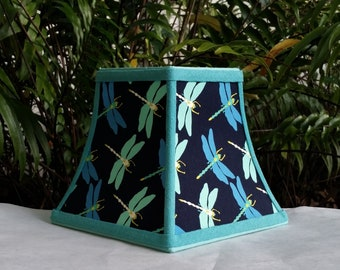 Blue Clip On Lampshade, Dragonfly Square Bell Lamp Shade