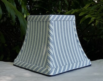 Blue Striped Lampshade, Small Square Bell, Clip On Lamp Shade