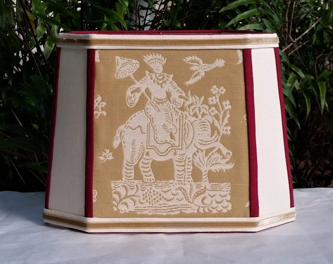 Featured listing image: Square Asian Lampshade, Mustard Red