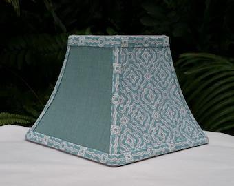 Square Bell Lampshade, Aqua, Gray, Clip On Lamp Shade
