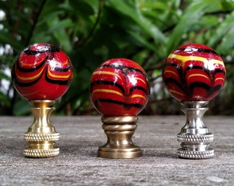 Red Lamp Finial, Black Yellow Marbled