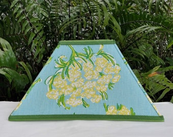Blue Floral Lampshade, Large, Lilly Pulitzer Fabric, Square Lamp Shade
