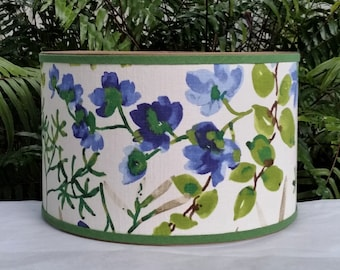 Floral Lampshade, Cobalt Blue, Lime Green Lamp Shade
