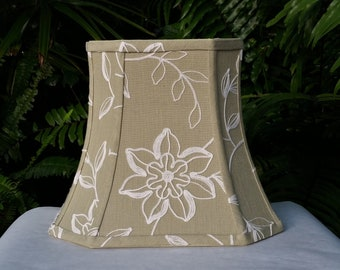 Embroidered Lamp Shade, Olive Green Bell