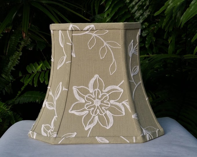 Featured listing image: Embroidered Lamp Shade, Olive Green Bell