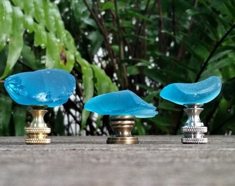 Turquoise Lamp Finial, Glass Rock