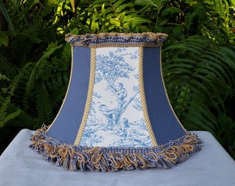French Country Toile Lampshade, Blue Ticking Lamp Shade