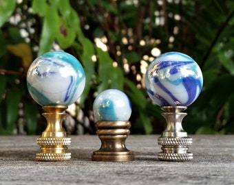 Beach Lamp Finial, Blue, Pearl and Turquoise
