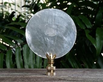 White Lamp Finial, Large Capiz Shell