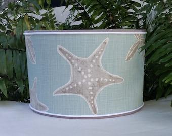Starfish Lamp Shade, Blue Gray Drum Lampshade