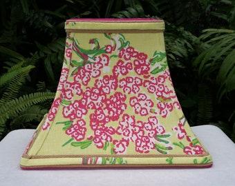 Green and Pink Lampshade, Lilly Pulitzer Fabric Lamp Shade