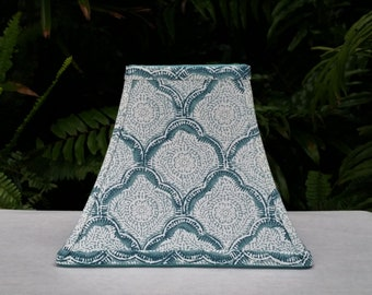 Aqua Lamp Shade, Block Print, Kravet Fabric