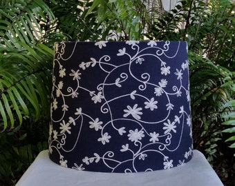 Navy Blue White Lampshade, Embroidered Tapered Drum