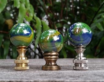 Lamp Finial, Green, Yellow Blue, Iridescent