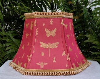 Coral Red and Gold Embroidered Lamp Shade, Custom Lampshade