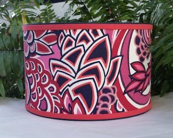 Hot Pink Navy Lampshade Duralee Fabric Drum Lamp Shade