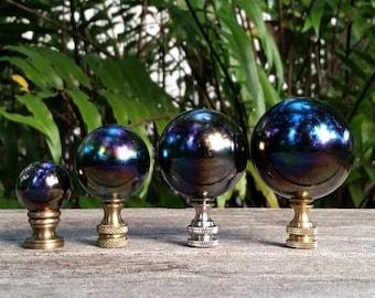 Lamp Finial, Black, Rainbow, Glass Marble