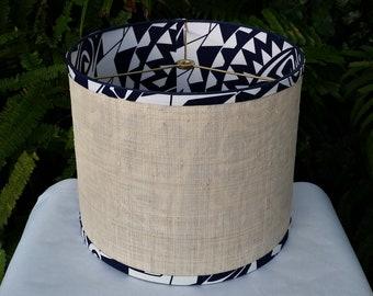 Raffia Cloth Lampshade, Navy Polynesian Fabric Lined