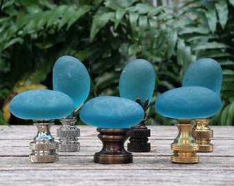 Teal Lamp Finial, Oval Glass Rock