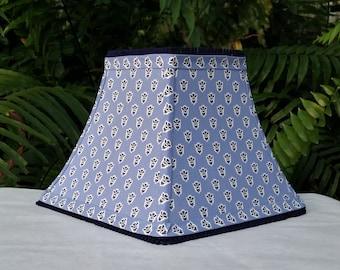 Les Olivades Blue Small Print Lamp Shade Provence