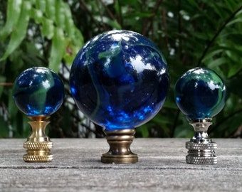 Blue Lamp Finial, Glass Marble