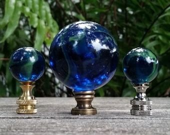 Blue Green Lamp Finial, Glass Marble