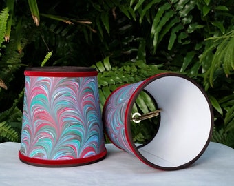 Marbleized Paper Sconce Lampshades A Pair