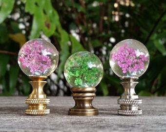 Lamp Finial, Pink Green Flowers