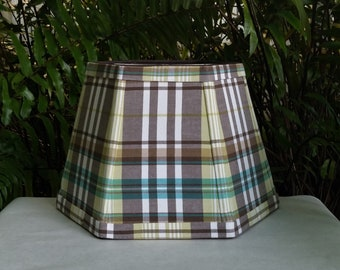 Brown Madras Lampshade, Green, White Lamp Shade