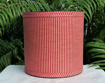Red Drum Lampshade, Gold Stripe Lamp Shade