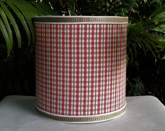 Red Plaid Lampshade, Drum Lamp Shade