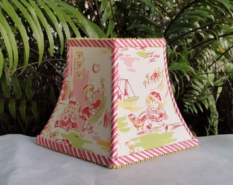 Pink Girl Lamp Shade, Square Bell, Clip On