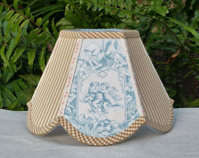 Featured listing image: Toile Lamp Shade, Robins Egg Blue Lampshade