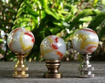 Pearl White Lamp Finial, Orange, Iridescent