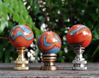 Lamp Finial, Orange, Blue