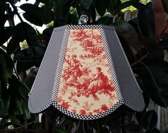 French Country Red Toile Lampshade, Black Gingham Lamp Shade