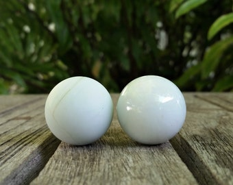 Opal White Lamp Finial, Shiny or Frosted Glass Marble