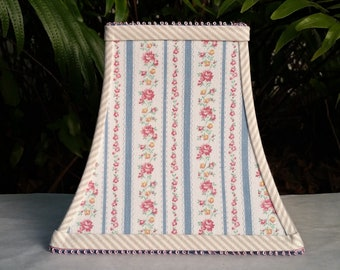 Clip On Lamp Shade, Blue Ticking Pink Flowers, Square Bell Lampshade