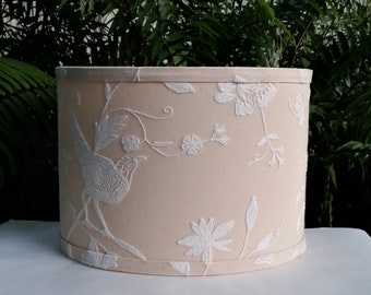 Lampshade, Drum, White Embroidery, Lamp Shade