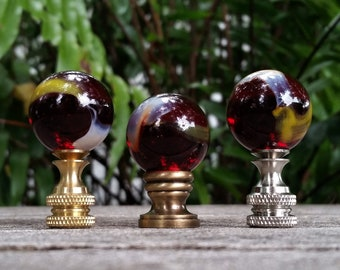 Red Lamp Finial, White Yellow
