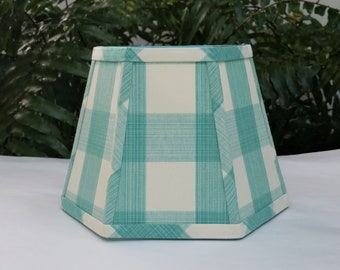 Aqua Ivory Check Lampshade, Clip On Hexagon Lamp Shade