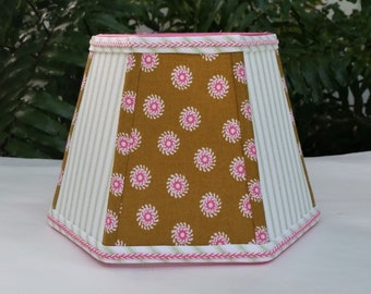 Lampshade, Mustard Brown, Hot Pink, Lime Green Clip On Lamp Shade