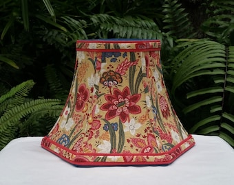 Floral Lampshade, Custom, Teal Pink Red French Fabric
