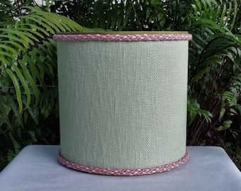 Sage Green Lampshade Olive Pink Trim