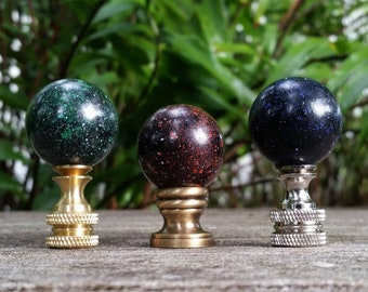 Black Lamp Finial, Blue Red Yellow or White Specks