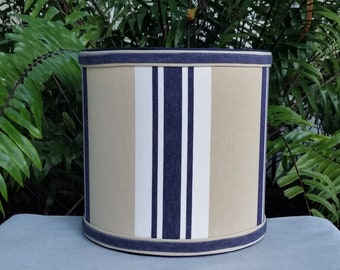 Preppy Drum Lampshade,  Navy Blue, Khaki Lamp Shade