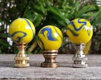 Lamp Finial, Yellow, Cobalt Blue