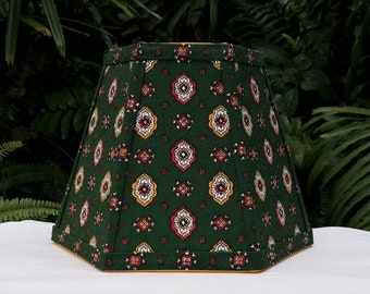 Green Foulard French Country Fabric Lampshade, Clip On Lamp Shade