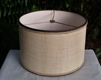 Made to Order Raffia Cloth Lampshade Lined with Ticking Fabric