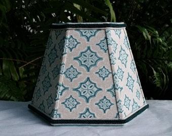 Clip On Lampshade, Blue Green Diamonds Hexagon